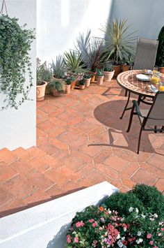 Mellow Terracota Tile Paving Slab Pack of Image 1 Terrace Tiles, Garden Tiles, Patio Tiles, Garden Floor, Garden Paving, Terrace Garden, Garden Pots, Bradstone Paving, Balcony Tiles