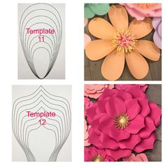 DETAILS: -All paper flower templates come in 8 different sizes ranging from XS .Discover thousands of images about Paper flower templatesThis Pin was discovered by Kel Paper Flowers Craft, Large Paper Flowers, Paper Flower Backdrop, Giant Paper Flowers, Big Flowers, Felt Flowers, Flower Crafts, Fabric Flowers, Paper Crafts