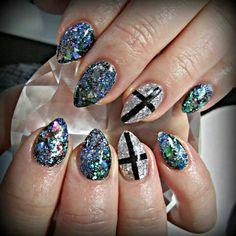 Sparkly cross acrylic nails