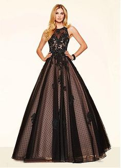 Fabulous Polka Dot Tulle Jewel Neckline Ball Gown Quinceanera Dresses With Beaded Lace Appliques & Rhinestones