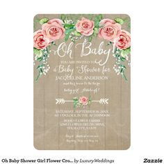 Oh Baby Shower Girl Flower Crown Barn Wood Boards Card