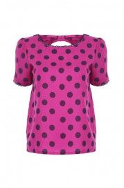Dots Print Open Back Rose Blouse    $19.90    romwe.com