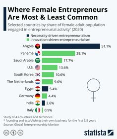 """My takeaway is that there are some surprises in selected countries where female entrepreneurs are making good inroads! Statista: """" According to a study by the Global Entrepreneurship Research Association, female entrepreneurs are especially common in developing nations like Angola as well as in developed countries like Saudi Arabia, Oman or Kuwait, and in the Americas, like in Panama, Chile and the U.S. Many developed nations in Europe have very low rates of female entrepreneurs."""""""