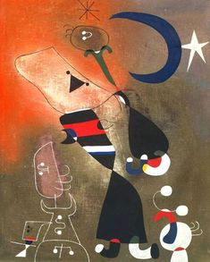 Joan Miró – Woman and Bird in the Moonlight, 1949