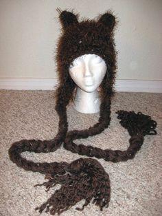Hand Crochet Bear Hat, Earflap Hat, Beanie, Ski Hat, in Brown, Winter Fashion. $48.00, via Etsy.