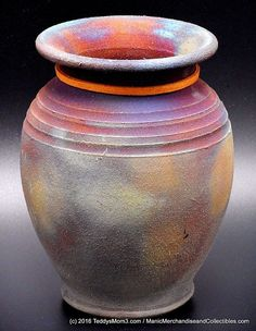 Signed Arizona Raku Studio Pottery Vase Jar Purple Blue Gold Copper Luster Matte #Raku