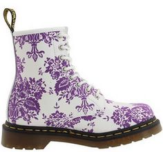 Dr. Martens 1460 Women's Doc Hot Military style Purple Floral Boots Spring 2010