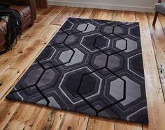 """Charcoal geometric rug 120 x 170 cm (4ft0"""" x 5 ft 7"""") -contemporary stylish rug #HONGKONG7526CHARCOAL #Contemporary"""
