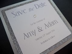 Silver glittery Save the Dates