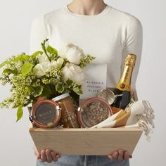 A Joyful Morning Gift Box with Flowers Champagne