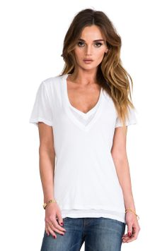 MONROW Double Tissue V-Neck Top in White from REVOLVEclothing