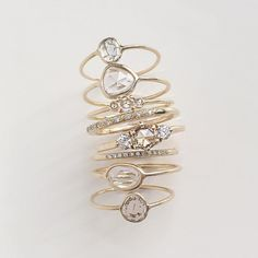Vale Jewelry Tidals Ring, Sapphire Slice Rings, Small Diamond Slice Rings and Trinity Ring