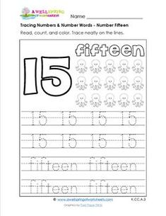 Level Worksheets tracing numbers and number words - number numbers and number words - number 15 Number Words Worksheets, Number Worksheets Kindergarten, Preschool Worksheets, Number Activities, Preschool Ideas, Numbers For Kids, Numbers Preschool, Learning Numbers, Number 15