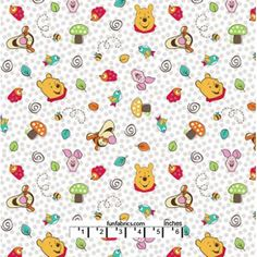 Winnie the Pooh Character Toss Dots Cotton