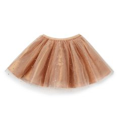 100% Polyester with 100% Cotton lining. Tulle skirt features a all over gold glitter spot with an elasticised waistband. Regular fitting silhouette. Available in Light Toffee.