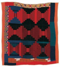 """""""Log Cabin""""—""""Courthouse Steps"""" variation quilt by Candis Pettway, Gee's Bend Antique Quilts, Vintage Quilts, Nancy Zieman, Log Cabin Quilts, Log Cabins, Gees Bend Quilts, American Quilt, Textile Fiber Art, Amish Quilts"""