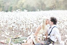 dreamy cotton field engagement photos