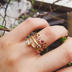Set of Diamond and Ruby stacking ring