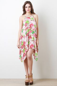 Floral Trapezoid Dress cute,  trends,  spring