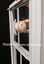 x 2 Track DuroView with PVC Film Ball pushing into window showing the resistance against blunt objects Playhouse Windows, Shed Windows, Pvc Windows, Window Fitting, Box Frames, Play Houses, 21st, Objects