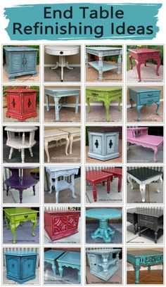 End Table Refinishing Ideas End tables are a great way to introduce the upstyled look up painted, glazed and distressed furniture into your home. Whether your choice of paint color is bold or neutral, end tables provide a unique pop of character to accent Refurbished Furniture, Paint Furniture, Repurposed Furniture, Furniture Projects, Furniture Makeover, Home Furniture, Furniture Design, Diy Projects, Furniture Refinishing