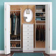 Busy days begin on the right foot with an orderly bedroom closet. Use a smart layout and standout accessories to double closet space and ease into the morning routine. Reach In Closet, Double Closet, Closet Space, Closet Mirror, Master Closet, Closet Bedroom, Closet Dresser, Closet Redo, Laundry Closet