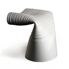 Folded Stool by Jack Craig // stool is made of a recycled PVC water main. To create the piece, Craig heats, stretches, and bends the material by hand, distorting its smooth surface into a sculptural, uniquely texturized place to sit