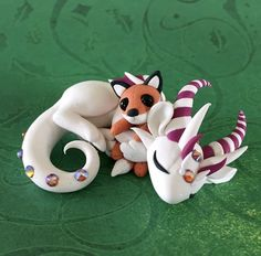 Dragon with Fox Plushie by Dragonsandbeasties