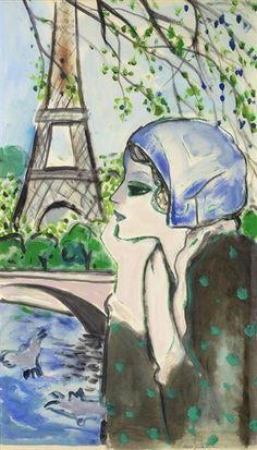 Jean Pierre Cassigneul - la Tour Eiffel, oil on paper
