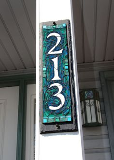 Vertical Narrow 3 Digit Mosaic House Number on by nutmegdesignsBlue Green Mosaic Vertical House Number Plaque for a Porch Pillar by Nutmeg Designs. Glass mosaic on slate, inches, safe for outdoors.Made to order colorful glass mosaic house plaques fea Mosaic Glass, Mosaic Tiles, Stained Glass, Glass Art, Mosaics, Cement Tiles, Wall Tiles, Mosaic Crafts, Mosaic Projects