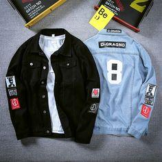 Denim Jacket Men, Bomber Jacket, Denim Jackets, Men's Denim, Dope Outfits For Guys, Mens Fashion Wear, Printed Denim, Jacket Brands, Jacket Style