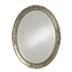 Elizabeth Austin Queen Anne Oval Vanity Mirror 25W x 33H in. Antique Silver - 4015