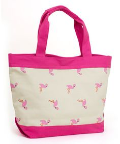 Look what I found on #zulily! Natural & Orchid Flamingo Tote by Magid #zulilyfinds