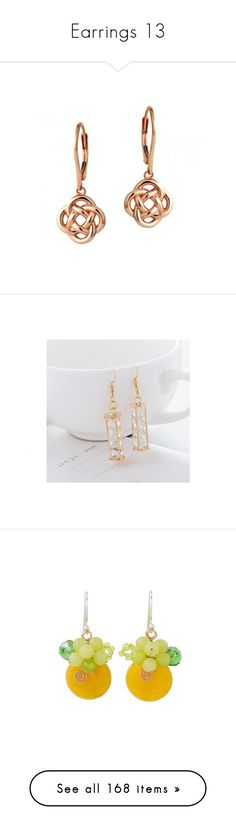 """""""Earrings 13"""" by thesassystewart on Polyvore featuring jewelry, earrings, love knot jewelry, love knot earrings, 18k rose gold jewelry, 18 karat gold earrings, 18k jewelry, crystal earrings, gold plated jewellery and crystal jewellery"""
