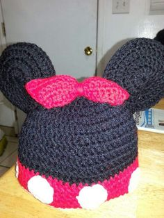 3D Minnie mouse crochet beanie