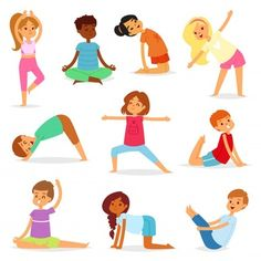 Buy Yoga Kids Vector Young Child Yogi Character by pantimetrok on GraphicRiver. Yoga kids vector young child yogi character training sport exercise illustration healthy lifestyle set of cartoon boy. Activities For Girls, Games For Kids, Chico Yoga, Wellness Activities, Cartoon Boy, Cartoon Icons, Kids Vector, Vector Free, Learn Yoga