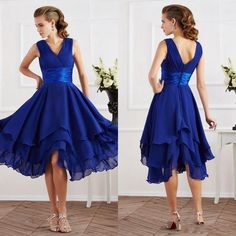 2016 Newest Design Cheap Bridesmaid Dresses Tea Length V Neckline Chiffon Royal Blue Bridesmaids Dresses With Pleats Cream Bridesmaid Dresses Dark Purple Bridesmaid Dresses From Hot_sales_dress, $67.84| Dhgate.Com