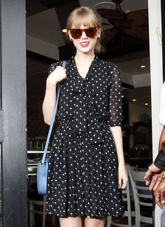 Taylor Swift sees spots in this cute frock.