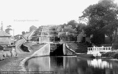 Bingley, Five Rise Locks, The Leeds & Liverpool Canal 1894. The locks lifted boats and barges a full 60 ft, and is one of the most impressive groups of locks on the canal. The canal was a vital link for Bingley's manufacturers with the port of Liverpool.