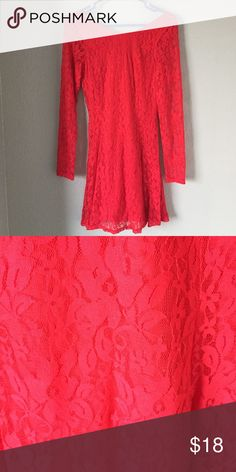 Red lace form fitting dress. Red lace form fitting dress with v back. Never worn. Perfect for a night on the town. Pair with heels for super sexy look. H&M Dresses Mini