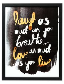 Add an on-trend statement to your home decor with this Laugh, Love, Live framed art from Tilly which features copper and white lettering. Framed Art, Wall Art, Christmas Presents, Farmer, Lettering, Love, Copper, Bedroom, Home Decor