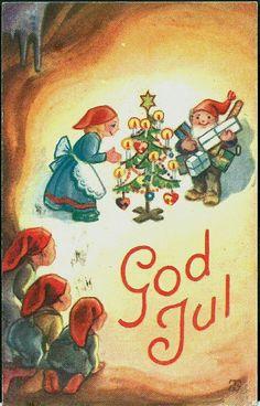 Vintage Christmas Cards, Christmas Holidays, Christmas Decorations, Christmas Postcards, Christmas Ideas, Norwegian Christmas, Scandinavian Christmas, Merry Happy, Christmas Paintings