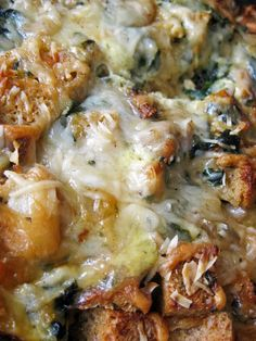 Sausage, Spinach, and Gruyere Breakfast Strata - A Hint of Honey--just as good with turkey sausage or bacon