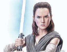 Colored pencil drawing of Daisy Ridley as Rey from Star Wars : The Last Jedi  #starwars #filipovicsart #rey #daisyridley