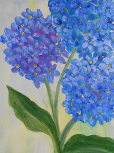 Blue Hydrangeas Original Abstract  Oil Painting by ArtForComfort, $75.00 #the foxes den team @thisartofmineUS #promote