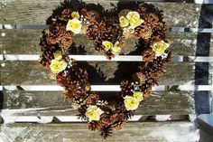 Heart Pine Cone Wreath With Yellow Silk Roses.  Door Wreath, Wall Decor, Valentine, Mother's Day. www.etsy.com/your/shops/NaturesCraftSupply
