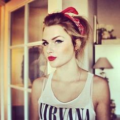 Pinup inspired makeup with headband and Nirvana vest top x