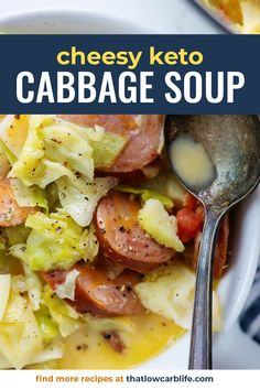 Cabbage And Sausage, Chicken And Cabbage, Cabbage Soup Diet, Soup With Cabbage, Keto Cabbage Recipe, Cabbage Soup Recipes, Crockpot Recipes, Keto Recipes, Stevia Recipes