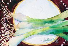 Judy Mudd - Work Zoom: Green Onions on Plate