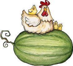 chicken on watermelon